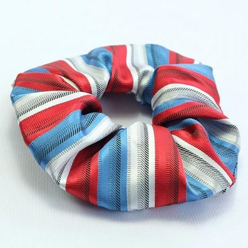 ShowQuest Striped Hair Scrunchie in Red/Blue/White